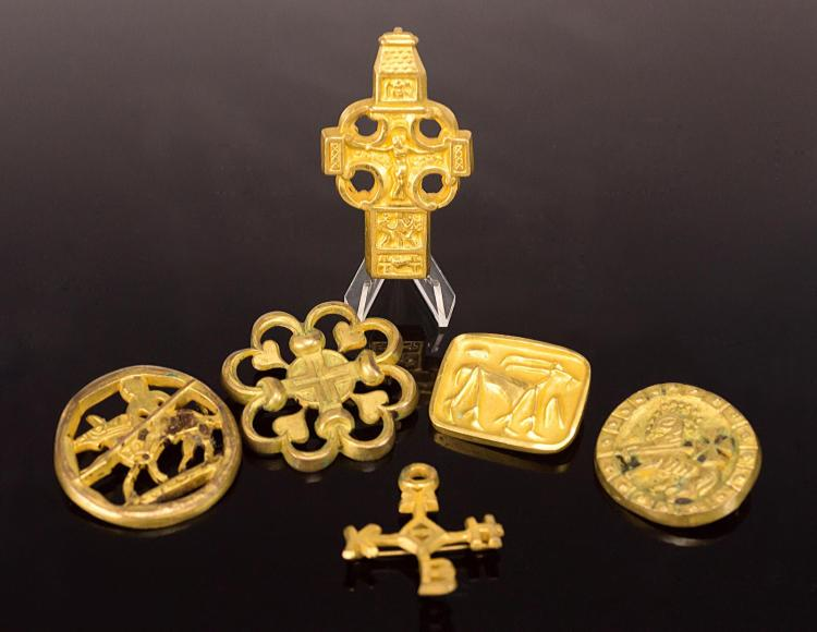 6Pc Arthus Bertrand Gold Plated Pins