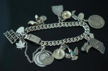 Sterling Silver Turquoise Charm Bracelet
