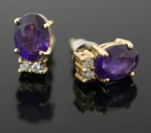 14K Yellow Gold Amethyst & Diamond Earring Pair