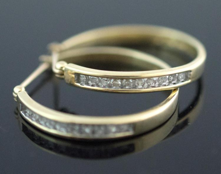 10K Yellow Gold Diamond Hoop Earring Pair
