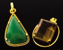 2Pc 18K Gold Turquoise & Topaz Pendants