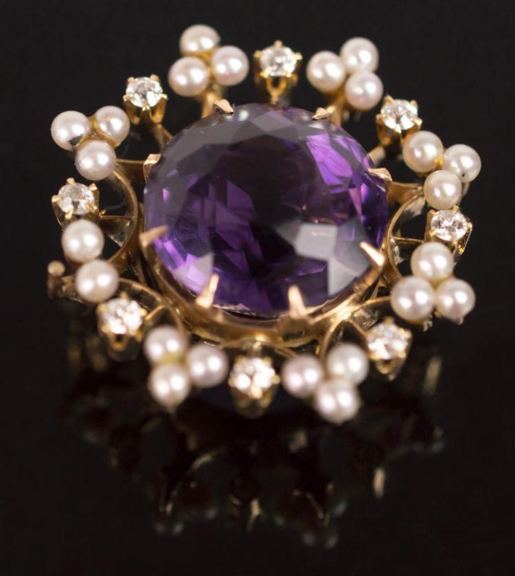14K Yellow Gold Amethyst, Diamond & Pearl Pendant