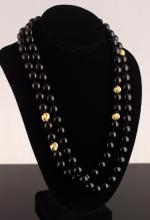 14K Yellow Gold & Onyx Beaded Necklace