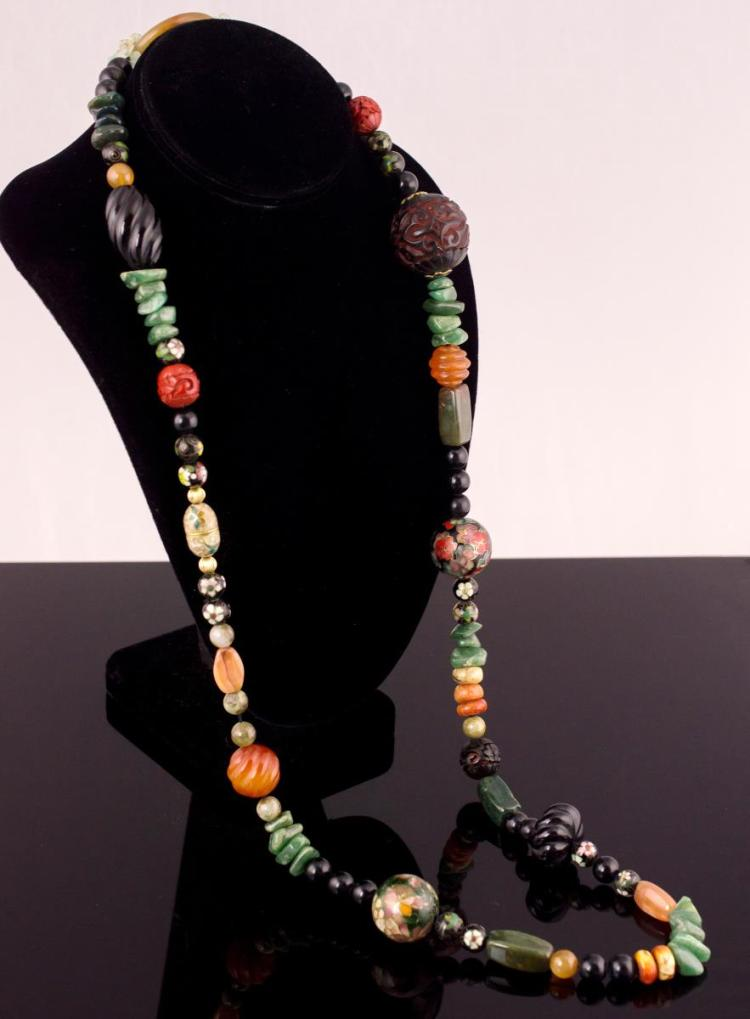 Jade, Cinnabar & Cloisonne Beaded Necklace