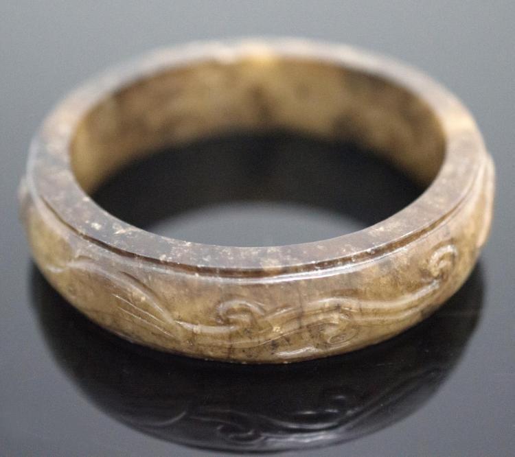 Asian Carved Jade Bangle Bracelet