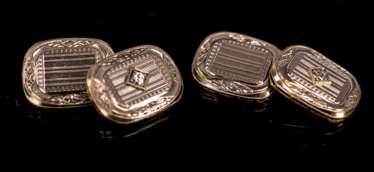 14K Two-Tone Gold Art Deco Diamond Cuff Link Pair