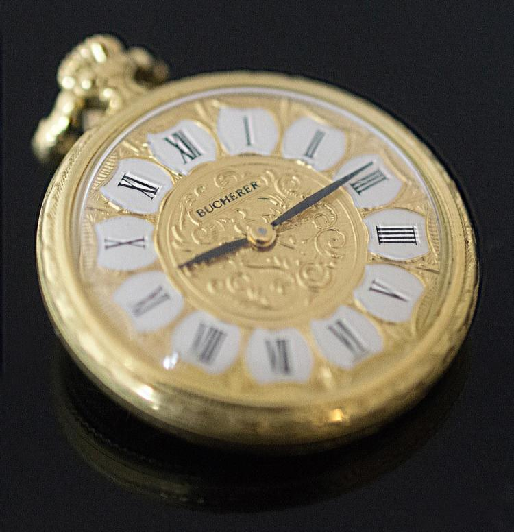 18K Yellow Gold Bucherer Pocket Watch