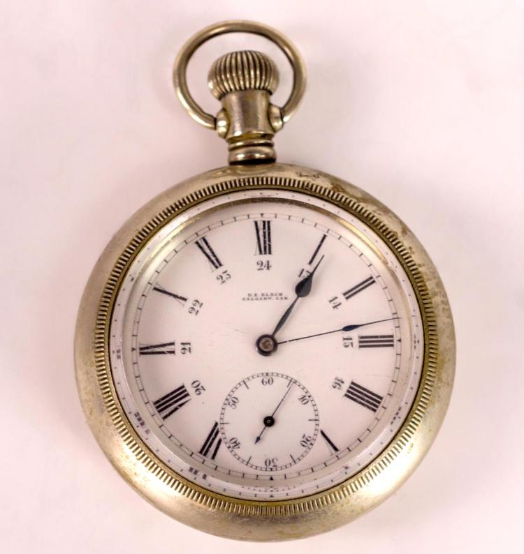 D.E. Black Silverode Pocket Watch