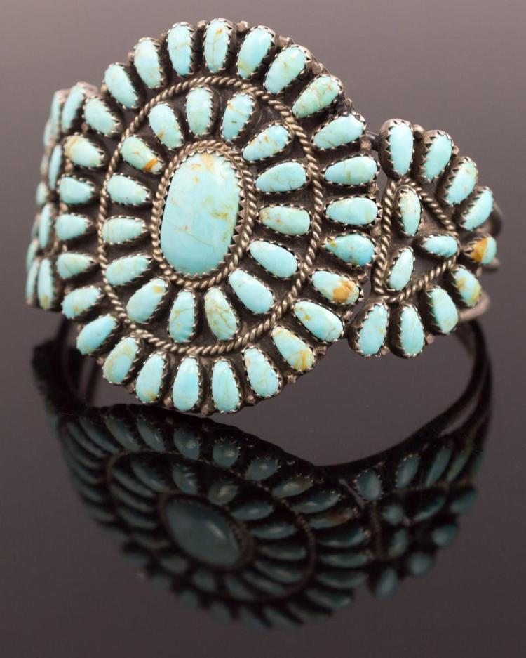 L. Begay Sterling Silver Turquoise Cuff Bracelet