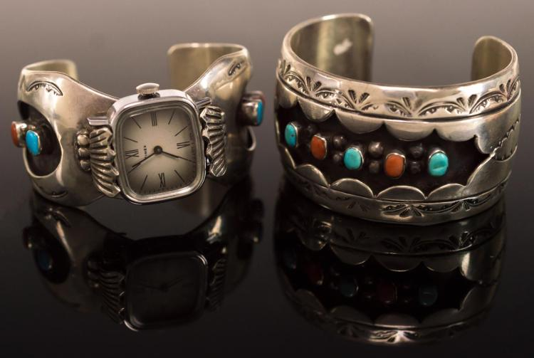 2Pc Signed Silver Cuff Bracelet & Watch