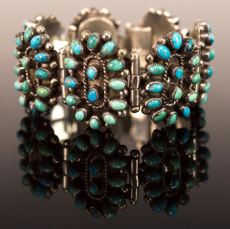 Signed Native American Silver Turquoise Bracelet