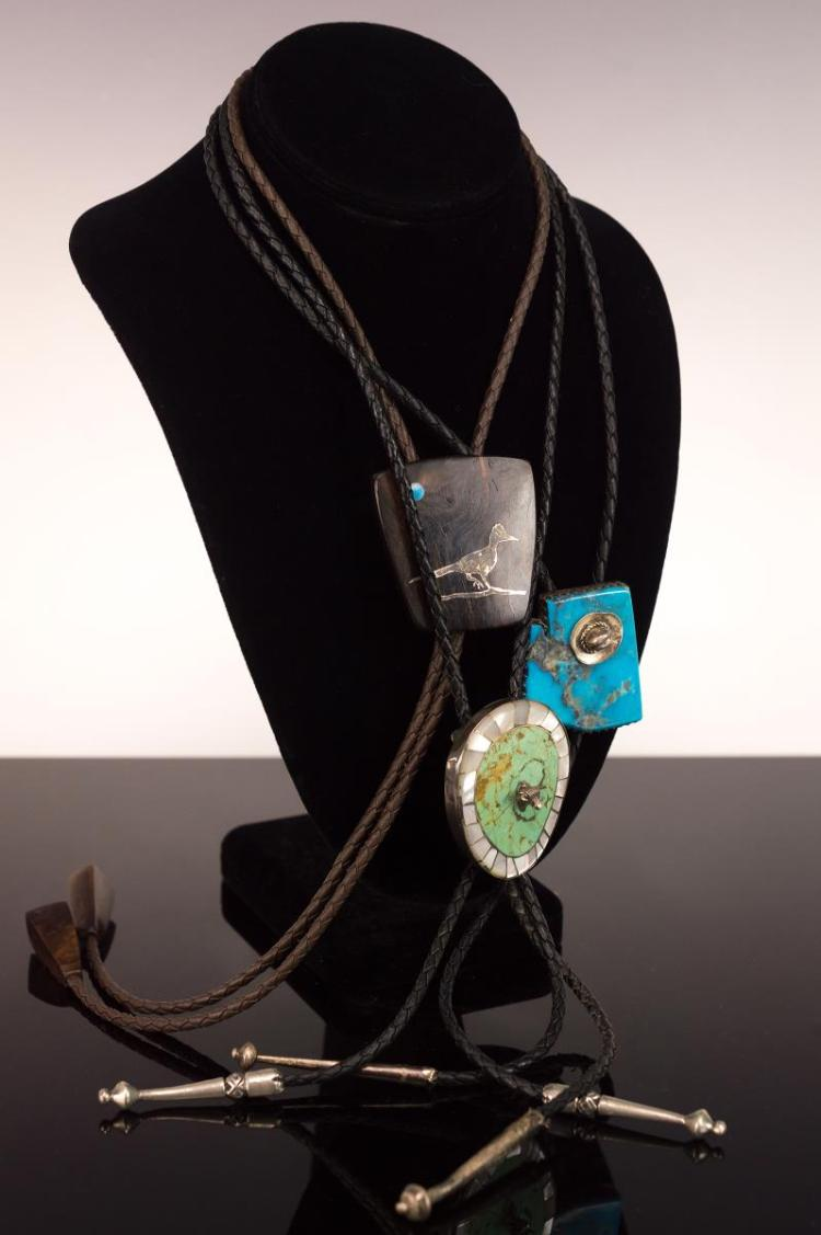 3Pc Signed Silver Turquoise Wooden Bolo Tie Lot