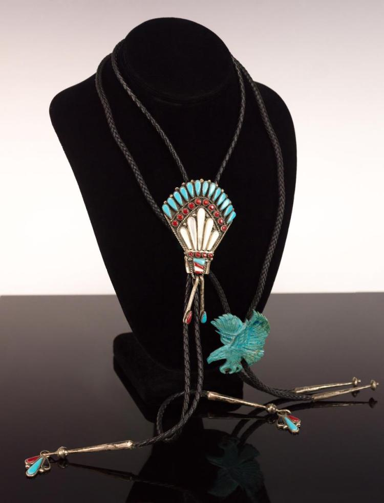 2Pc Silver Turquoise Bird Effigy Bolo Tie Lot