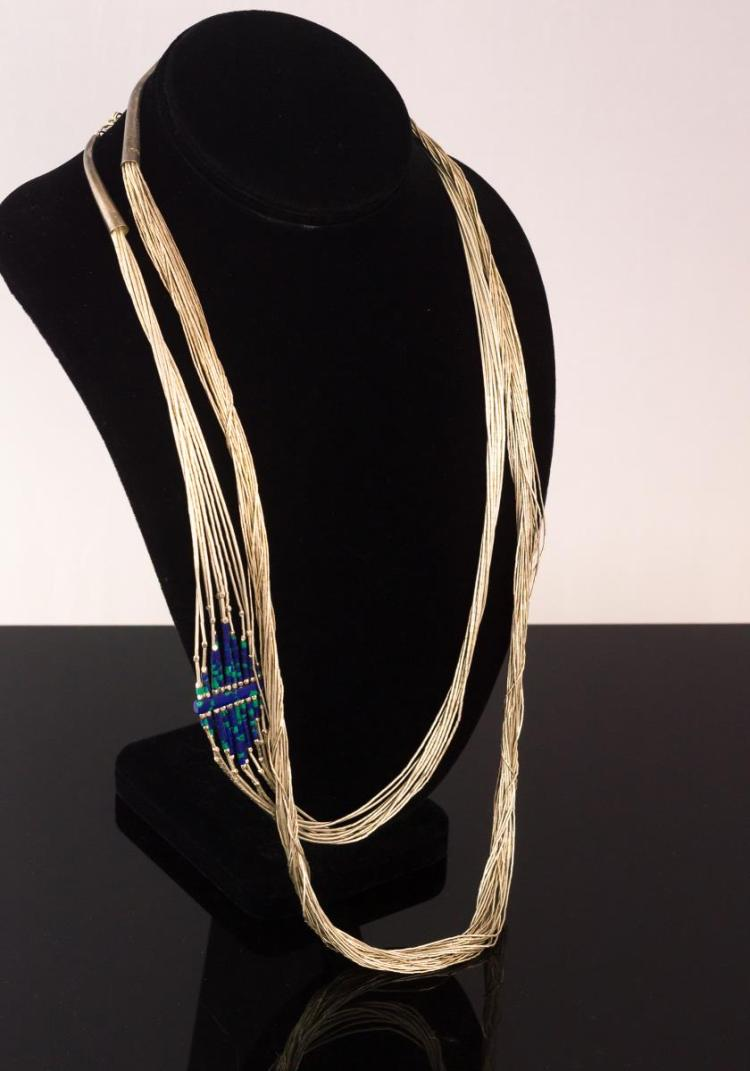 Sterling Liquid Silver Lapis Necklace Pair