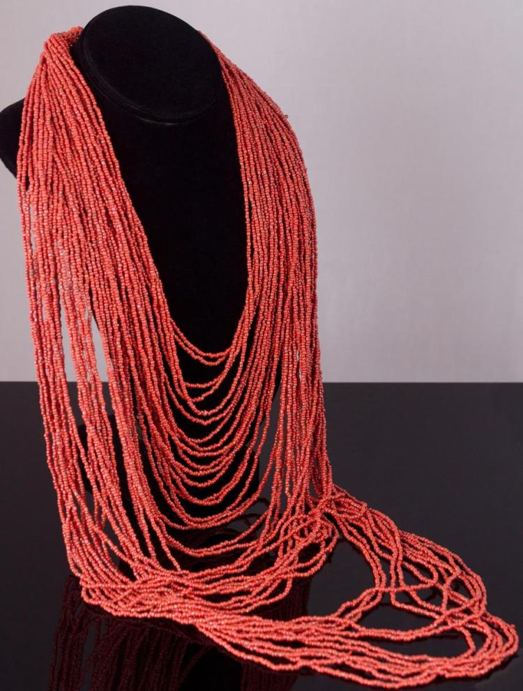 Multi-Strand Coral Glass Bead Necklace
