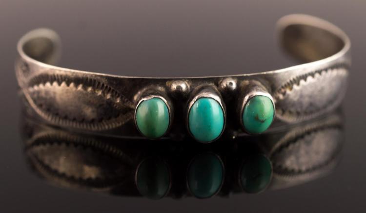 Signed Native American Silver Cuff Bracelet