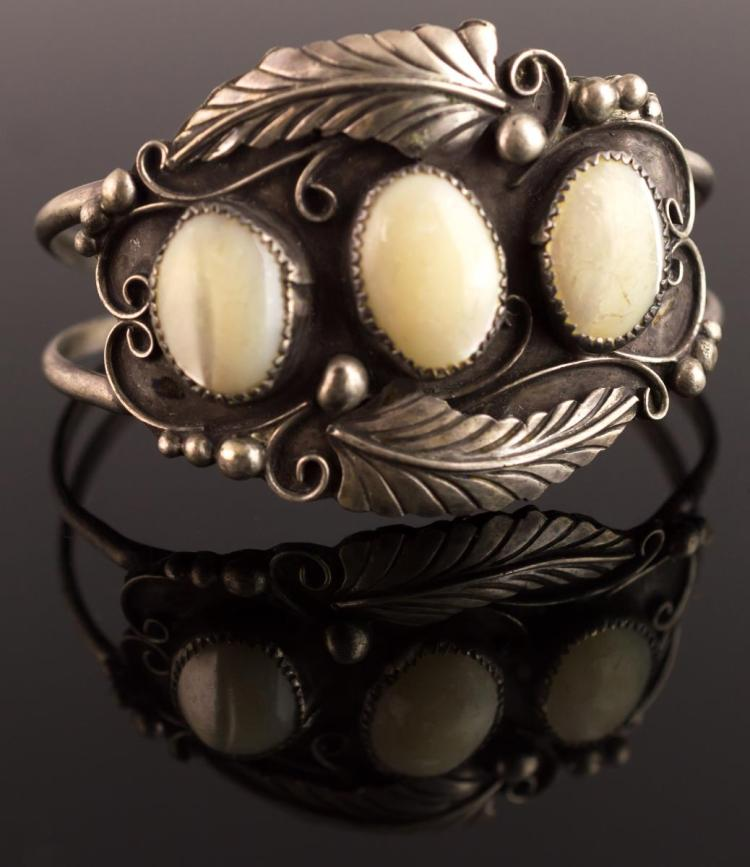 Native American Silver Mother Of Pearl Bracelet