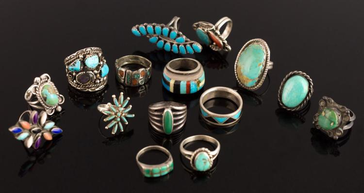 15Pc Native American Silver Mineral Stone Ring Lot