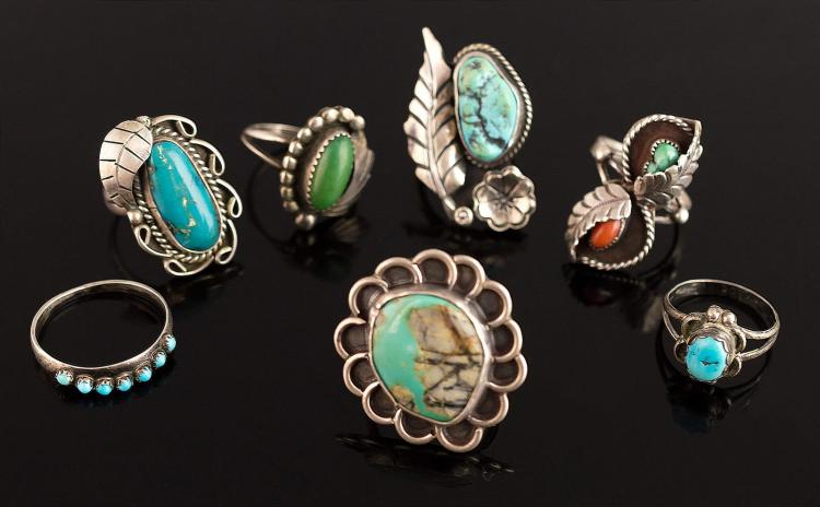 7 Pc. Signed Native American Silver Ring Lot