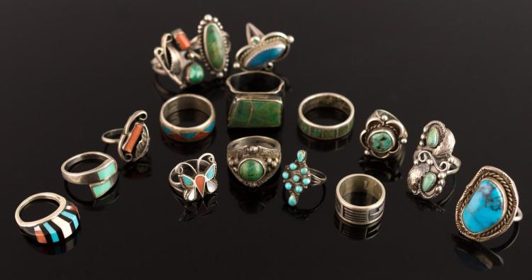 16 Pc. Signed Sterling Silver Turquoise Ring Lot