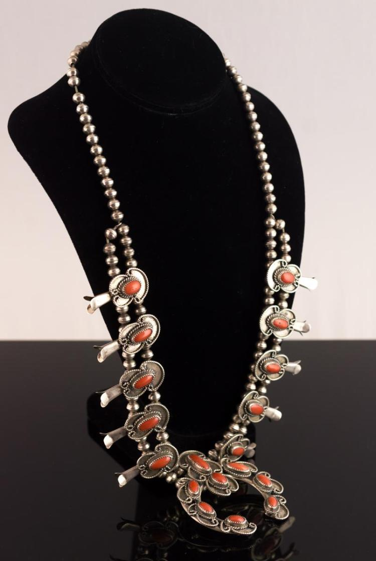 Native American Silver Squash Blossom Necklace