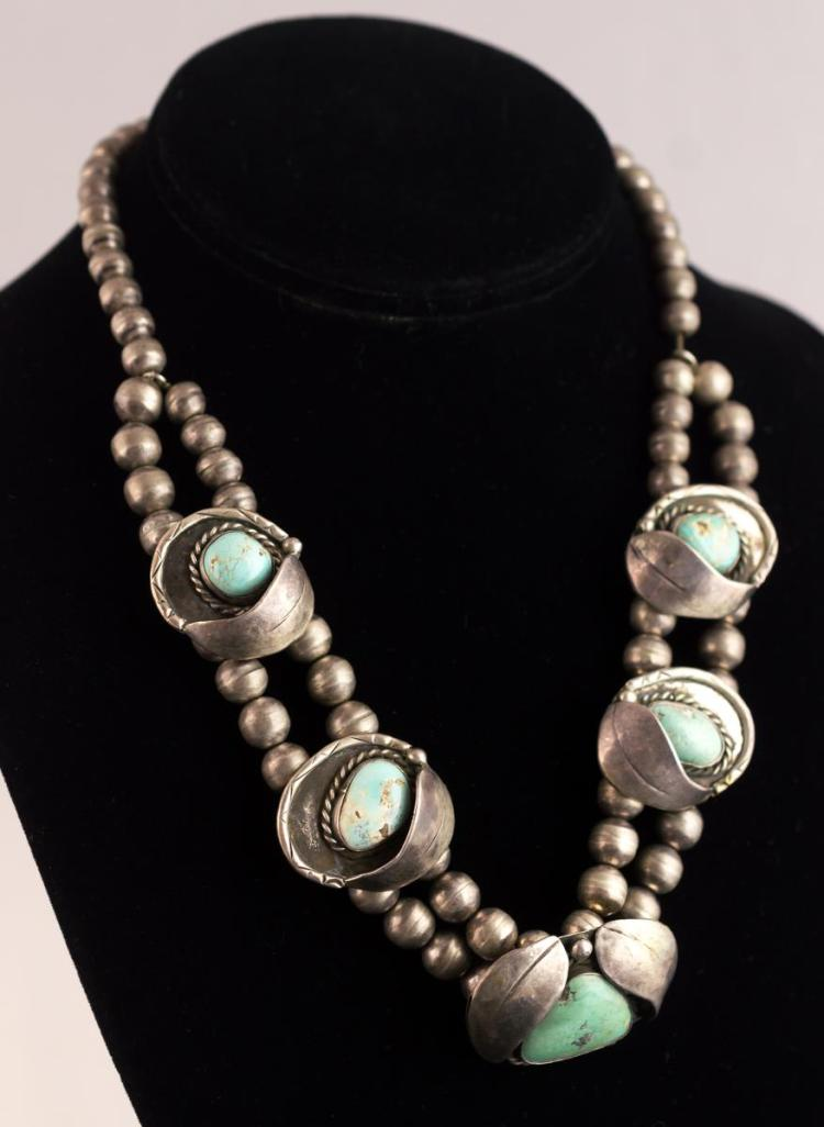 Native American Silver Turquoise Necklace