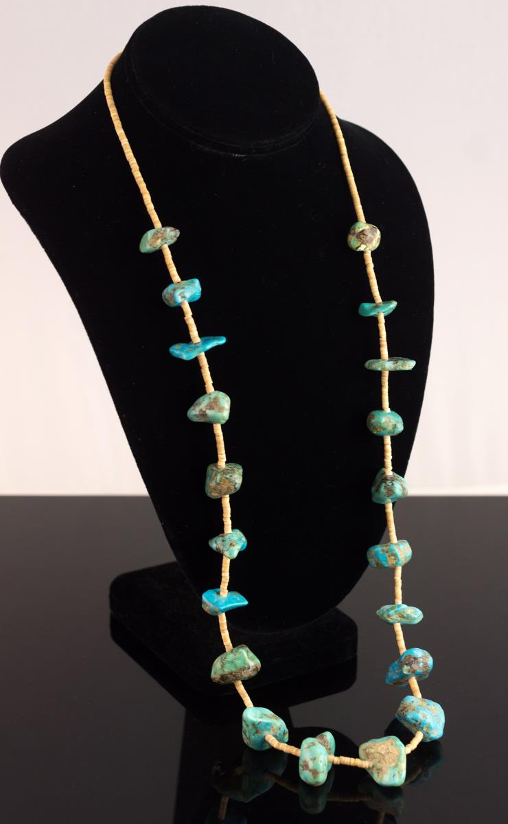 Silver Turquoise & Heishi Shell Beaded Necklace