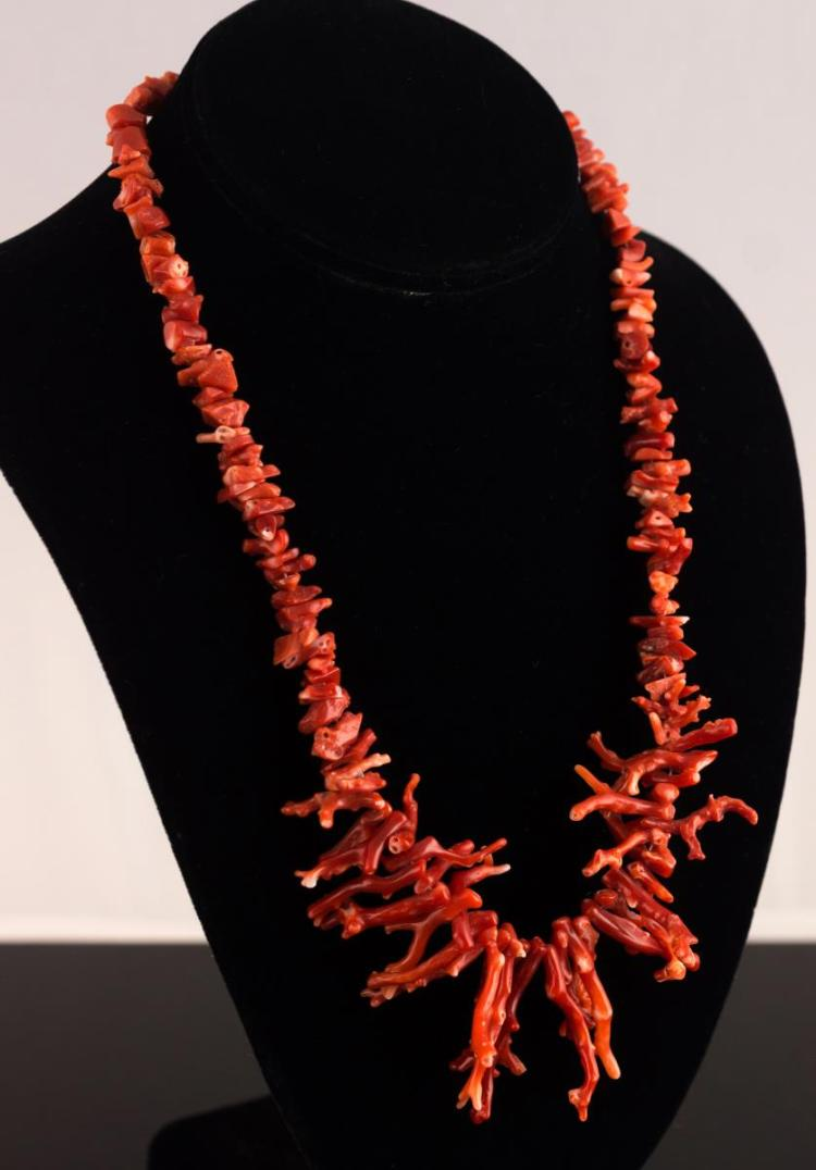 Native American Silver Branch Coral Necklace