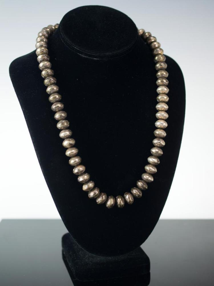 Native American Silver Bench Made Bead Necklace
