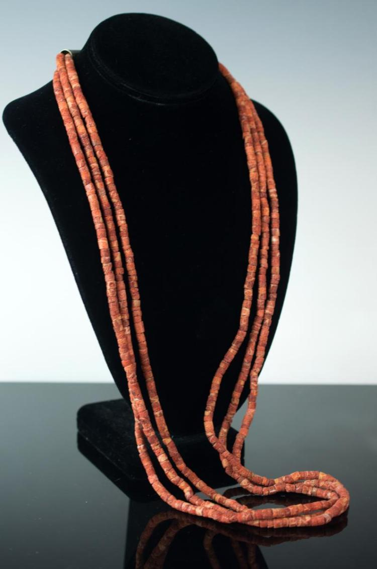 Native American Silver Three-Strand Coral Necklace