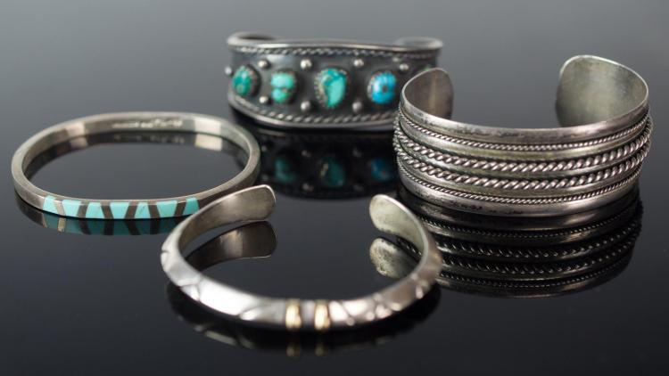 4 Pc. Signed Sterling Silver Cuff Bracelet Lot