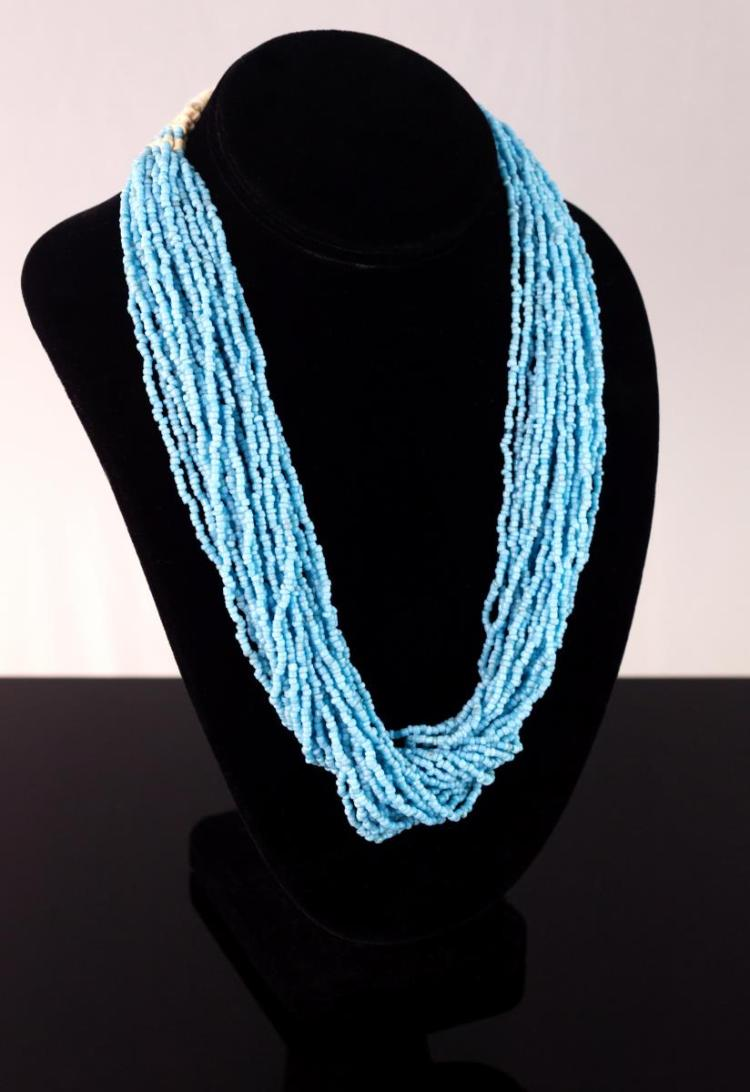 Multi-Strand Turquoise Glass Beaded Necklace