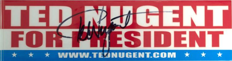 Autographed Ted Nugent Bumper Sticker