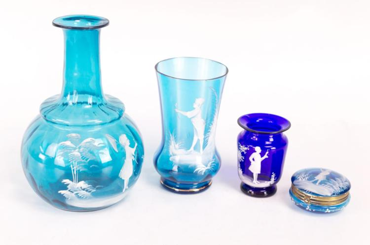 4Pcs. Victorian Mary Gregory Blue Glassware