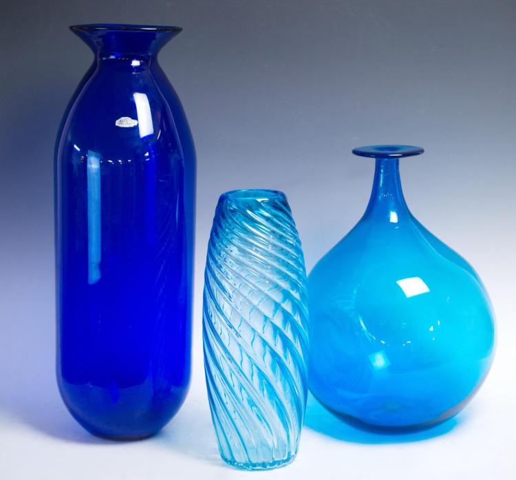 3Pc. Mid Century Modern Art Glass, Blenko Bottle