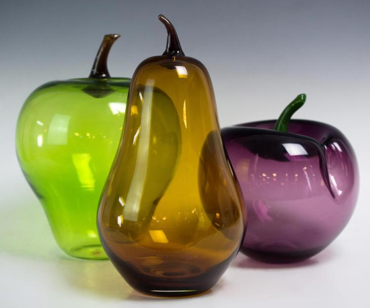 3Pc. Art Glass Fruit, Plum, Apple & Pear