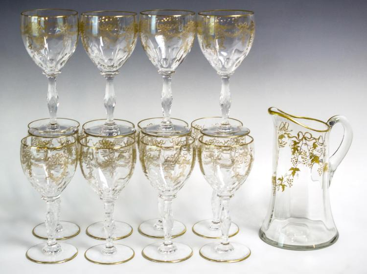 12 St Louis French Water Goblets w/ Gold Pattern
