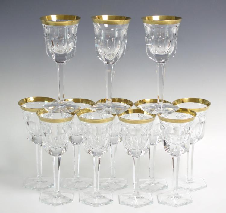 12 Pc. Moser Ornate Gold Rimmed Wine Goblets
