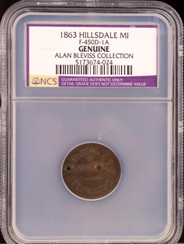 Civil War Token 1863 HILLSDALE F-450D-1A