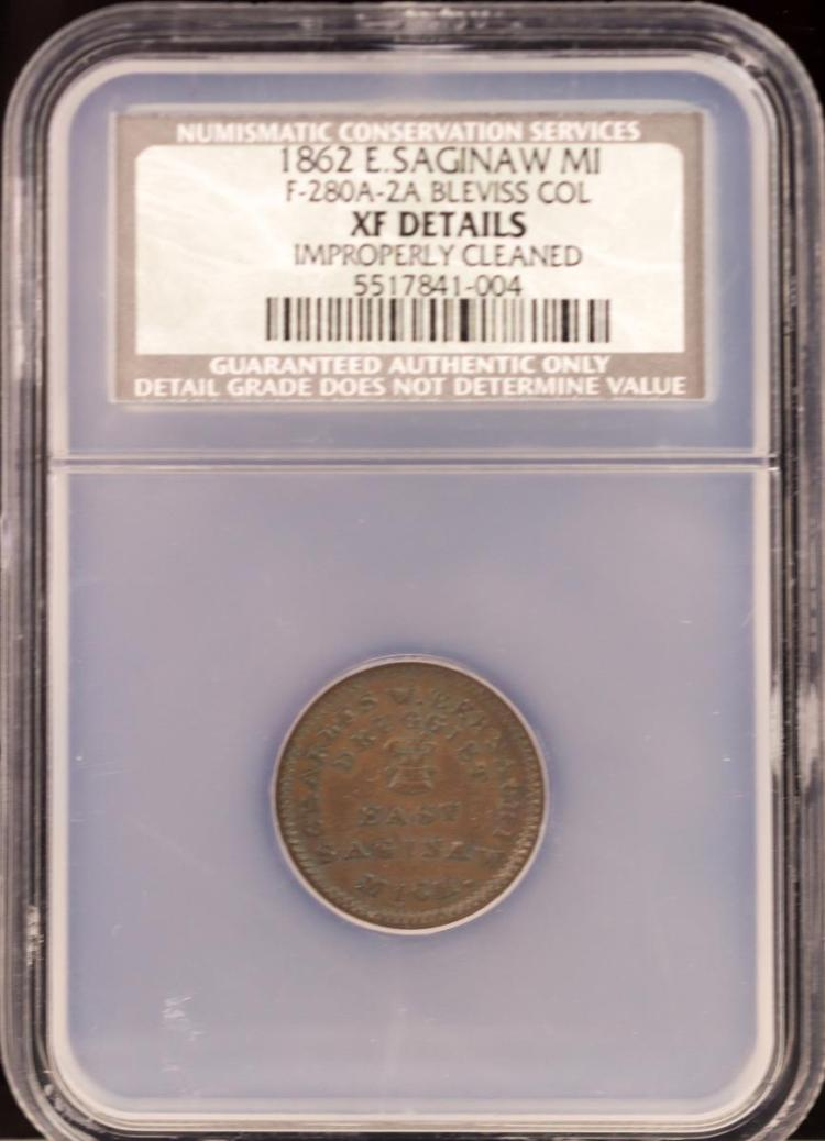 Civil War Token 1862 E.SAGINAW F-280A-2A