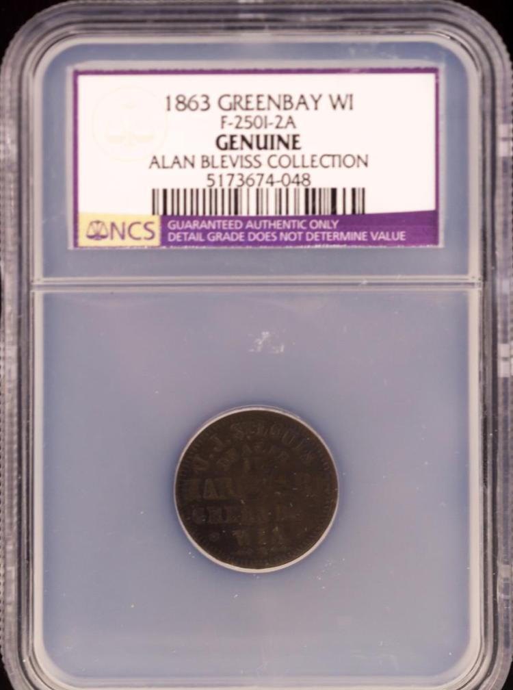 Civil War Token 1863 GREENBAY F-250I-2A