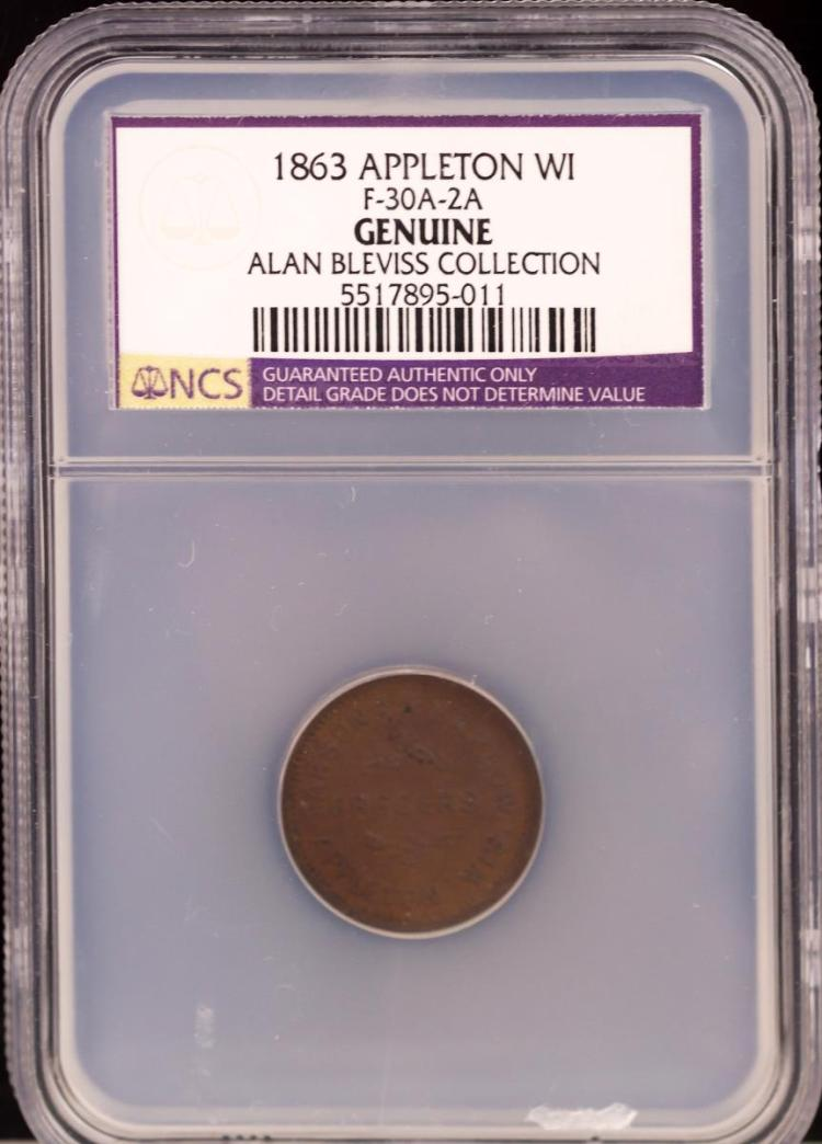 Civil War Token 1863 APPLETON F-30A-2A