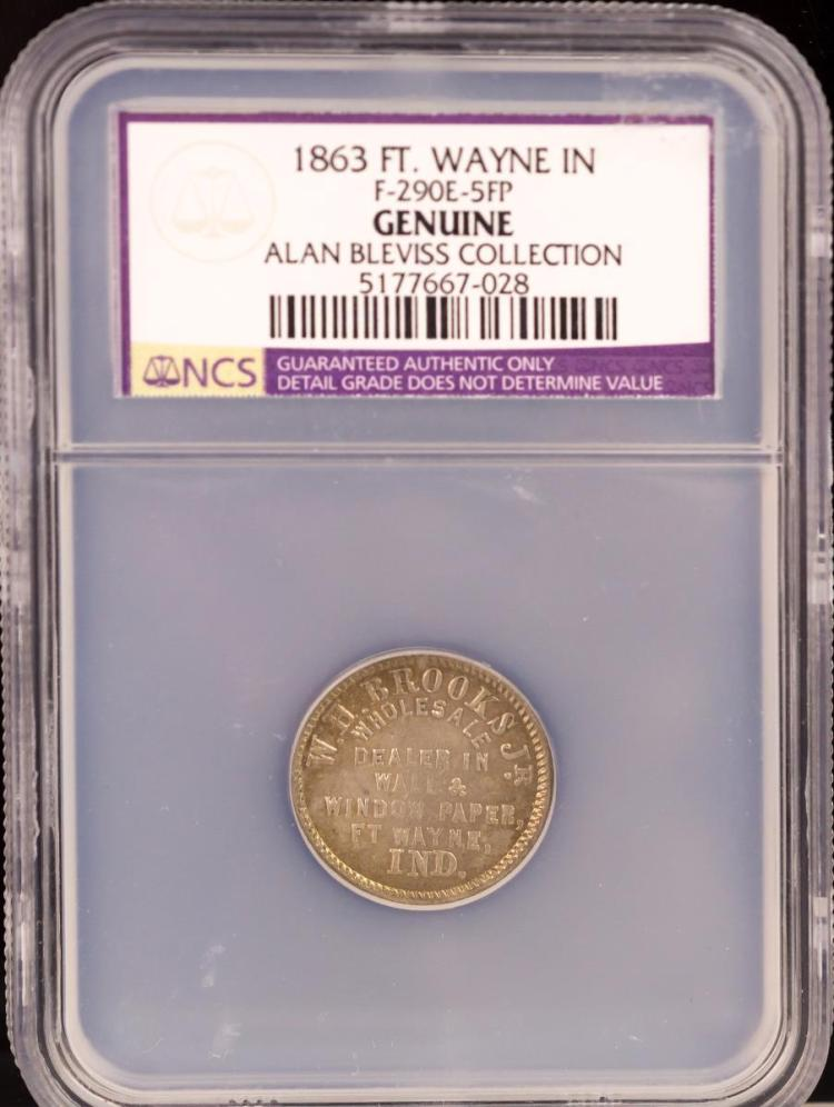 Civil War Token 1863 FT. WAYNE F-290E-5FP
