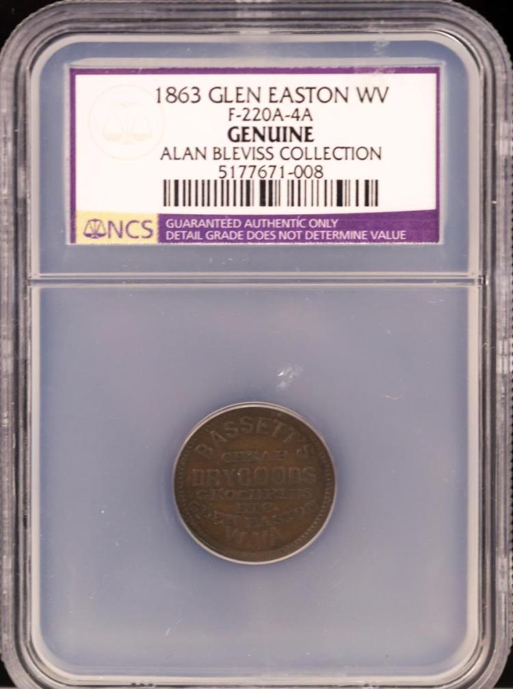 Civil War Token 1863 GLEN EASTON F-220A-4A