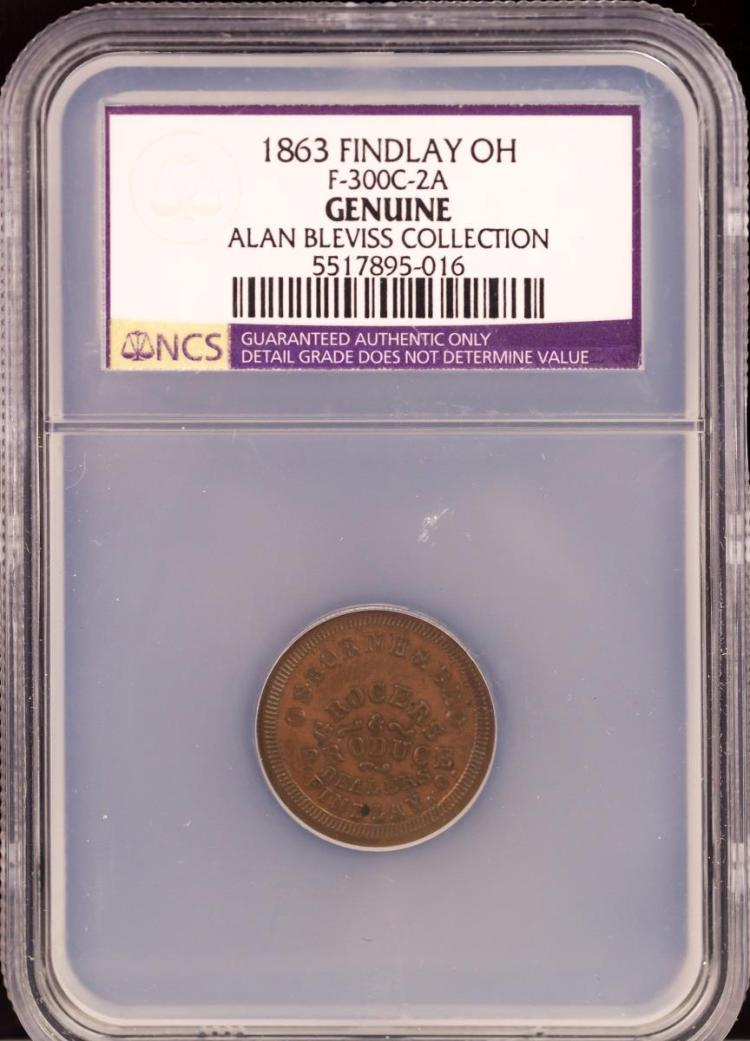 Civil War Token 1863 FINDLAY F-300C-2A