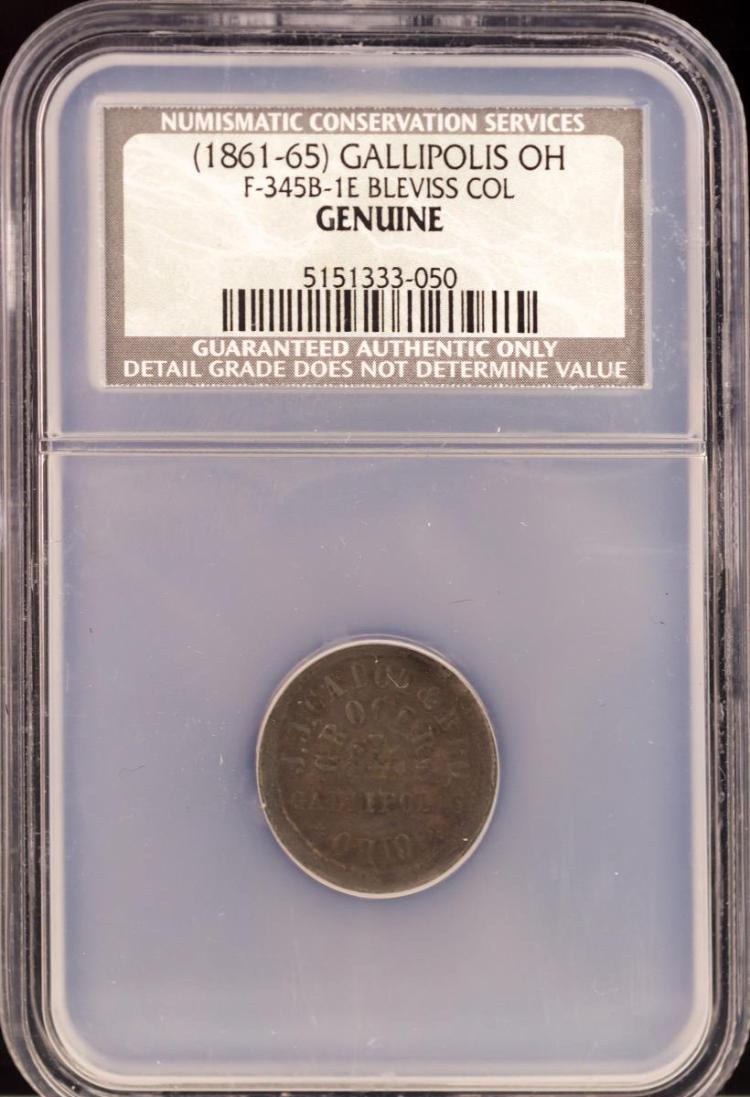 Civil War Token (1861-65) GALLIPOLIS F-345B-1E