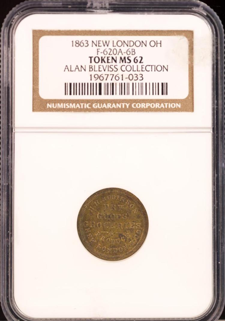 Civil War Token 1863 NEW LONDON F-620A-6B