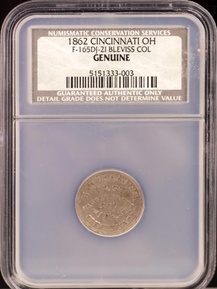 Civil War Token 1862 CINCINNATI F-165DJ-2I