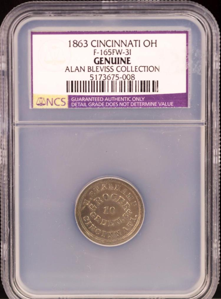 Civil War Token 1863 CINCINNATI F-165FW-3I