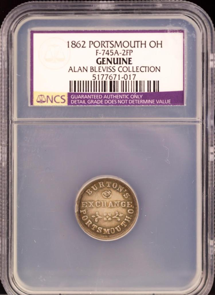 Civil War Token 1862 PORTSMOUTH F-745A-2FP